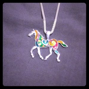 Jewelry - Silver necklace with multicolored horse pendant